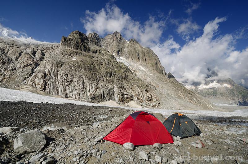 camping on the alpine glacier