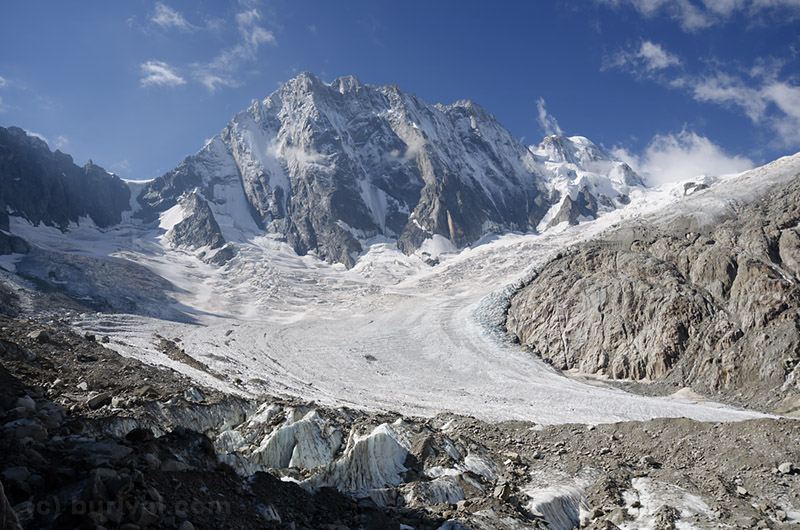 alpine peaks and the glacier