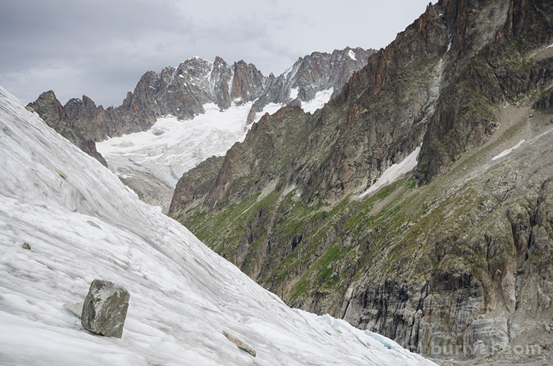 steep glacier and peaks