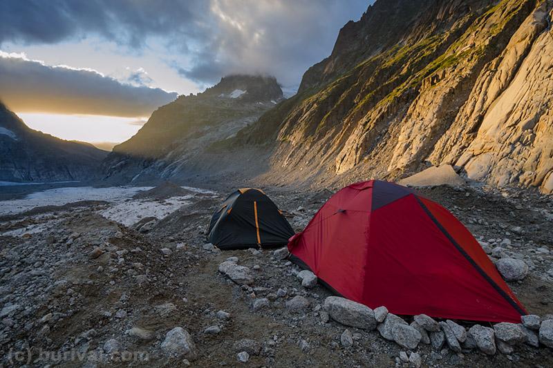 sunset in the alpine camp